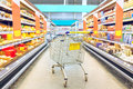Cart at the grocery store. Supermarket interior, empty shopping trolley. Business ideas and retail trade. Royalty Free Stock Photo