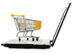 Cart and laptop Stock Image