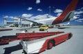 Cart near aeroplane at airport Perth Australia Royalty Free Stock Photo