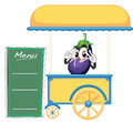 A cart stall and a fruit illustration of on white background Stock Images