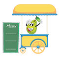 A cart stall and a pear illustration of on white background Royalty Free Stock Photography