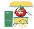 A cart stall and a tomato illustration of on white background Royalty Free Stock Images