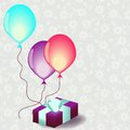 Cart template with gift box and balloons Stock Photography