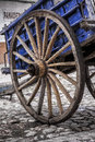 Cart wheel detail antique wagon iron and wood Royalty Free Stock Images