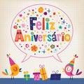 Carta di feliz aniversario portuguese happy birthday Fotografia Stock Libera da Diritti