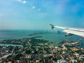 Cartagena Aerial View from Window Plane Royalty Free Stock Photo