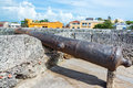 Cartagena cannon old historic in the old walled city of colombia Stock Photo