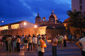 Cartagena at night people on the old city of colombia Royalty Free Stock Photos