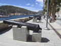 Cartagena port area old cannons in the in spain Stock Photo