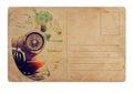 Carte postale de vintage avec la rétro voiture Image stock