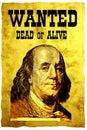 Cartel QUERIDO conceptual. El jefe de los E.E.U.U. 100 dólares de presidente Franklin de la cuenta Imagen de archivo