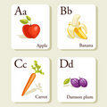 Cartes d'alphabet de fruits et légumes Images stock