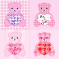 Cartes roses d'ours de nounours Photo stock