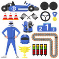 Carting Rally Car and Victory Symbols Collection
