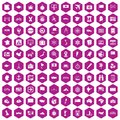 100 cartography icons hexagon violet
