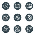 Cartography and topography icon set maps location navigation icons vector illustration simplus Stock Photography