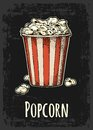 Carton bucket full popcorn with title. Royalty Free Stock Photo