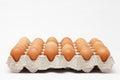 Carton of eggs on white background Royalty Free Stock Image
