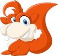 Happy squirrel cartoon waving