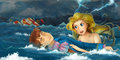 Cartoon adventure scene storm on the sea scene with mermaid rescuing someone beautiful and colorful illustration for children Stock Image