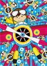 Cartoon Aeroplane with Pilot Royalty Free Stock Photo