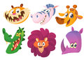 Cartoon African animals. Wild animals vector icons set. Crocodile and tiger and rhino and giraffe, lion, zebra