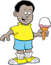 Cartoon african boy eating an ice cream cone illustration of Stock Images