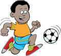 Cartoon african boy playing soccer illustration of an Stock Photo