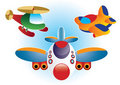 Cartoon airplane and helicopter Royalty Free Stock Photo