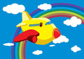 Cartoon Airplane in the Rainbow Sky - Vector Royalty Free Stock Image