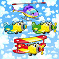 Cartoon airplanes and helicopter in the sky funny vector illustration Stock Photos