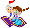 Cartoon aladdin on a flying carpet traveling illustration of Royalty Free Stock Image