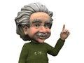 Cartoon Albert Einstein having an idea.