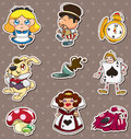 Cartoon Alice in Wonderland stickers Royalty Free Stock Photos