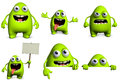 Cartoon alien d cute green Royalty Free Stock Image