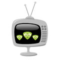 Cartoon alien faces on a tv screen eps vector three retro with transparency Stock Photo