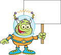 Cartoon alien holding a sign illustration of space Royalty Free Stock Photos