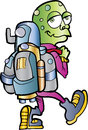 Cartoon alien jetpack user isolated Royalty Free Stock Image