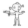 Cartoon alien with ray gun black and white line in retro style vector available Stock Image