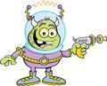 Cartoon alien with a ray gun illustration of space holding Royalty Free Stock Images