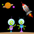 Cartoon alien and space Royalty Free Stock Images