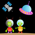 Cartoon alien and space Royalty Free Stock Photo