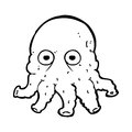 Cartoon alien squid face black and white line in retro style vector available Royalty Free Stock Images