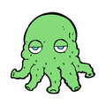 Cartoon alien squid face hand drawn illustration in retro style vector available Stock Image