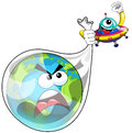 Cartoon alien or ufo spaceship catching earth Royalty Free Stock Photo