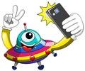 Cartoon alien ufo spaceship selfie smartphone Royalty Free Stock Photo