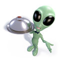 Cartoon alien waiter d rendering of a green wearing a bow tie and holding a serving tray Royalty Free Stock Photo