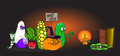 Cartoon alive Vegetables in halloween costumes trick-or-treating in front of scared little peas