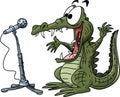 Cartoon alligator making a speech on a stage vector illustration
