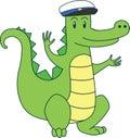 Cartoon alligator in sailor cap. Vector flat illustration